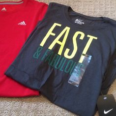 Nike and Adiddas Fitted Shirts Two athletic T-shirts. Women's size large. One Nike, new with tags's. One red Adidas, gently used. Both fit a size 8 to 10 woman. Nike Tops Tees - Short Sleeve