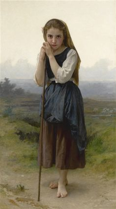 Artwork by William Adolphe Bouguereau, Petite Bergere, Made of oil on canvas