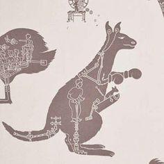 kangaroo wallpaper for kids rooms in light gray colors