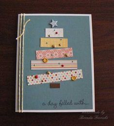 My goal? Use only what I already have at home in my craft room to create all m… – Christmas DIY Holiday Cards Diy Holiday Cards, Homemade Christmas Cards, Christmas Cards To Make, Homemade Cards, Handmade Christmas, Christmas Crafts, Button Christmas Cards, Christmas Postcards, Cards Diy