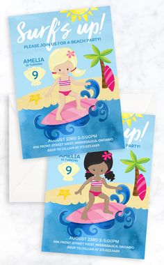 Surf's Up! Surfer Girl Beach Party Birthday Invitation for summer birthday party. Ready to personalize and print!