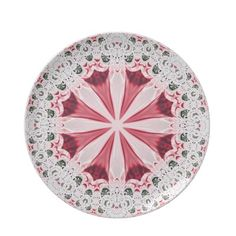 Red White Fractal Lace Plate
