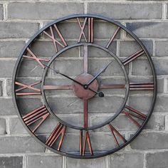 Grande horloge murale cadre ferronnerie fer metal for Grande horloge murale pas cher
