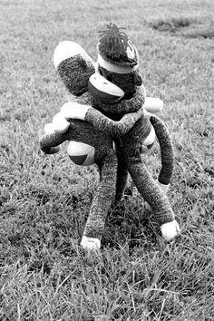 Sock Monkey Best Friends  Hug  Black and White by sweetbuttercup, $15.00
