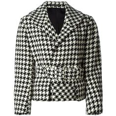 Yohji Yamamoto Vintage Houndstooth Belted Jacket ($1,129) ❤ liked on Polyvore featuring outerwear, jackets, coats, coats & jackets, tops, black, long sleeve jacket, vintage black jacket, black long sleeve jacket and hounds tooth jacket