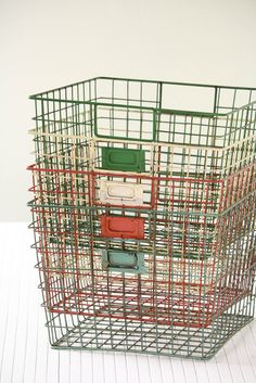 Weathered Wire Gym Baskets by Olive Manna Mini Loft, Wire Baskets, Storage Baskets, Book Baskets, Wire Storage, Kitchen Storage, Storage Ideas, Company Picnic, Home Accessories