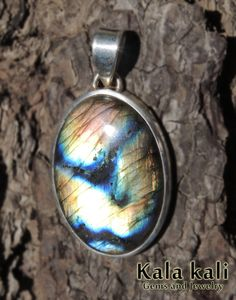 Blue golden Peacock labradorite Set in Sterling Silver by KalaKali, €80.00