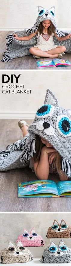 This hooded blanket is the cat's meow! Contrasting fringe and double stranded crochet make for a quick-and-easy project with purrfect results. #catsdiycrafts