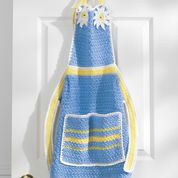 Crochet a cheerful apron in blue and yellow with daisy accents. Place crochet daisies wherever you like on the apron, making one, two or many. Crochet Daisy, All Free Crochet, Easy Crochet Patterns, Knitting Patterns Free, Crochet Flowers, Free Knitting, Knit Crochet, Free Pattern, Crochet Ideas