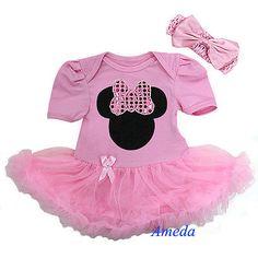 Baby Girls Light Pink Minnie Mouse Bodysuit Romper Pettiskirt Headband 2pc 6-12M