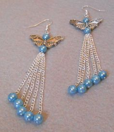 Spring Flight - Butterfly Wings with Blue Glass Pearls