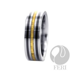 Feri Luxe tungsten ring with 24K Gold inlaid