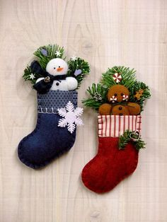Felt Frosty & Ginger Stocking Ornaments