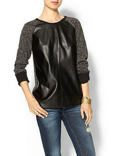 Isabel Lu Vegan Leather Paneled Top , fall will be here in no time