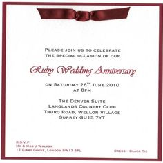 25th 40th and 50th Wedding Anniversary Invitations 25th Wedding