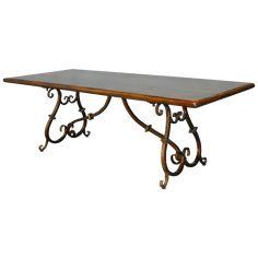 Image of Spanish Colonial Wrought Iron Trestle Table Colonial Furniture, Iron Furniture, Table Furniture, Spanish Kitchen, Wrought Iron Chairs, Trestle Dining Tables, Dining Chairs, Spanish Style Homes, Spanish Style Kitchens