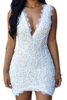 ZKESS Women's Sleeveless Lace Party Club Mini Dress XXL S...