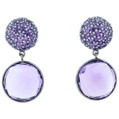 Pre-owned Amethyst Disc Drop Earrings (2.325 BRL) ❤ liked on Polyvore featuring jewelry, earrings, disc jewelry, round earrings, amethyst drop earrings, earring jewelry and drop earrings
