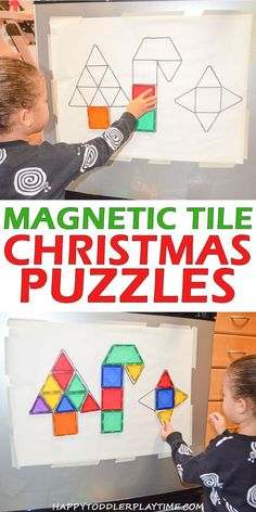 christmas 2018 Christmas Magnetic Tile Puzzles HAPPY TODDLER PLAYTIME Here is a fun Magnetic Tile activity where your little one can create Christmas shapes! This is a great activity for preschoolers and kindergartners! Christmas Activities For Kids, Preschool Christmas, Toddler Christmas, Outdoor Christmas, Toddler Learning, Toddler Preschool, Preschool Activities, Toddler Puzzles, Cognitive Activities