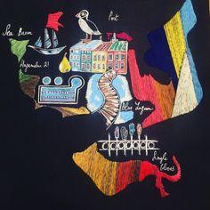 #embroideryonpaper #custommademap #reykjavik #audreydemarre Cross Stitch, Comic Books, Map, Photo And Video, Comics, Instagram, Punto De Cruz, Seed Stitch, Location Map