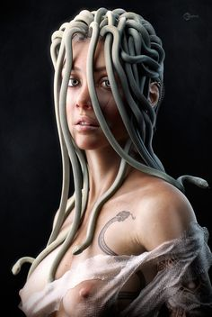 young-medusa-portrait by George Manolache Greek Mythological Creatures, Mythological Characters, Mythical Creatures, Female Characters, Dark Creatures, Zbrush, Pinup, 3d Fantasy, Fantasy Gifts