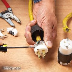 How to Repair a Cut Extension Cord All you need is a new plug If you accidentally cut your extension cord or power tool cord, save it by adding a new plug and receptacle to the two pieces—a safer solution than a splice. Wiring A Plug, Electrical Wiring, Electrical Outlets, Handyman Projects, Diy Projects, Welding Projects, Woodworking Projects, All You Need Is, Electrical Projects