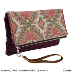 Southwest, Tribal, Geometric Reddish/Orange Clutch