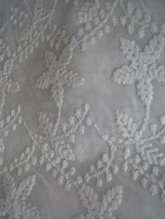 Unique White Embroidery Cotton Fabric  Half Yard by Fabricana, $6.50
