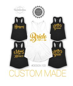 Bride and Bridsmaid Bachelorette tank tops, Maid of Honor tank, Mother of the Bride, bridal gift, wedding tank top, bridesmaid tank top by Bachelorettees on Etsy
