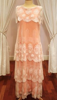 1920s Vintage Peach Dress with Tiered Ivory Lace Overlay Gorgeous but £625