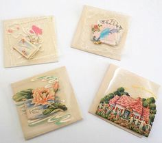 Vintage Greeting Card  Mini Cards Translucent Mounting