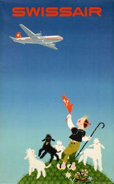 1954 Swissair vintage travel poster / lambs