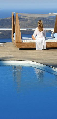 Relaxing at the Sun Rocks Hotel in Santorini, Greece http://www.mediteranique.com/hotels-greece/santorini/sun-rocks-santorini/