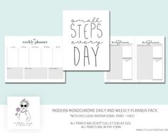 Daily planner and weekly planner with exclusive free inspirational quote print. This simple, Scandinavian-inspired design will help as a functional life organizer that helps with efficiency and productivity.  Start organizing your plans and goals for 2017.  :::::::::::::::::::::::::::::::::::::::::::::::::::::::::::::::::::::::  Features of this product  This download has 3 pages: Weekly planner, Daily planner and Inspirational Pri...