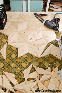 Geometric wooden flooring, unique and creative flooring ideas options