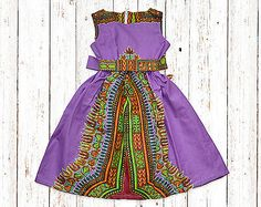 Girl's African Dashiki Print Dress with Belt