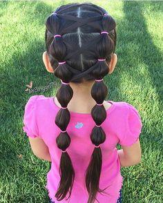 Love this darling style! Bubble pigtails with criss crossed hair, credit @pr3ttygirl79 😍 #braidsforlittlegirls