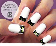 Black cat nail decalnail art 60 nail decals Nail by Marziaforever Cat Nail Art, Funky Nail Art, Animal Nail Art, Cat Nails, Funky Nails, Cat Nail Designs, Maquillage Halloween, Halloween Nail Art, Nagel Gel