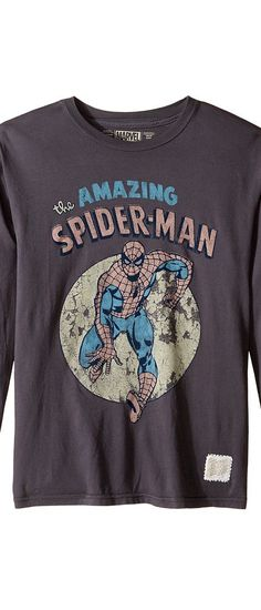 The Original Retro Brand Kids Long Sleeve Vintage Cotton Spiderman Tee (Big Kids) (Charcoal) Boy's T Shirt - The Original Retro Brand Kids, Long Sleeve Vintage Cotton Spiderman Tee (Big Kids), RB400B-MVL312A-010, Apparel Top Shirt, T Shirt, Top, Apparel, Clothes Clothing, Gift, - Street Fashion And Style Ideas