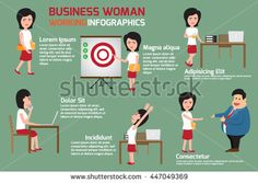 Business woman at work infographics. businesswomen or office person daily working in workplace and happy with his work. vector illustration.
