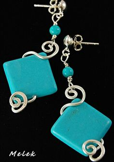 I'm not sure I love the square bead with the swirls, but the swirls around a bead are really artistic and nicely done! Turquoise Ideas Earrings #Cabs