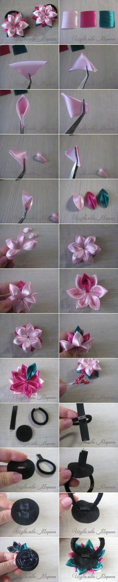 Цветы из атласных лент в технике канзаши. #kanzashi