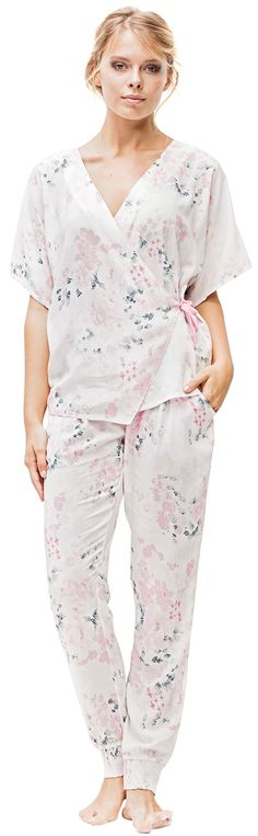 109e78fa96e Loomerie Pajama Set For Women Lightweight Soft Pink and White Cherry  Blossom Wrap Top and Tapered Pants White Pink   Check out this great  product.