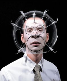 "The Objectuals by Hyungkoo Lee ""The Objectuals"". The korean artist Hyungkoo Lee… Mode Pop, Fashion Mask, Wearable Technology, Korean Artist, Body Modifications, Headgear, Oeuvre D'art, Cyberpunk, Costumes"