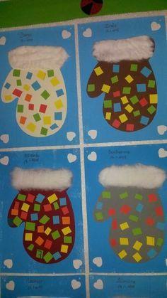 Winter Handschuhe aus Papier gebastelt