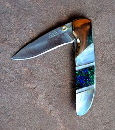 Azurite and Pearl 4″ Linerlock Knife | Turquoise Butterfly