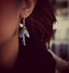 Bridal earrings silver flower weddings something blue by AmberSky, $49.50