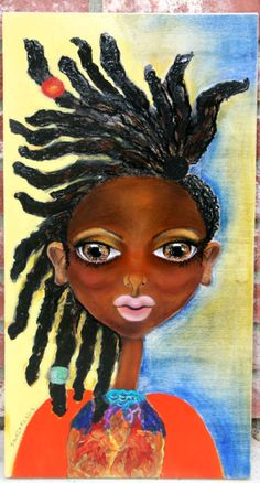 """Abena"" original painting on wood by Salkis Re Contact:  http://salkisreinfo@salkisre.com https://www.etsy.com/shop/SalkisReArt http://salkisre.tumblr.com https://www.facebook.com/artbysalkis?_rdr=p http://salkisre.com"