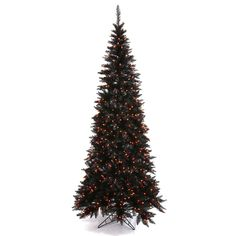 Vickerman Pre-Lit Slim Fir Tree with 948 Orange Mini Lights, 6.5-Feet, Black *** Instant discounts available  : Christmas Trees