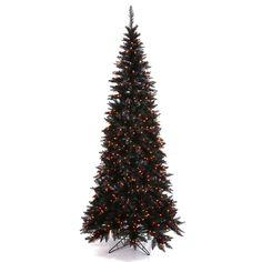 Vickerman Pre-Lit Slim Fir Tree with 948 Orange Mini Lights, 6.5-Feet, Black *** Instant discounts available  : Christmas Trees